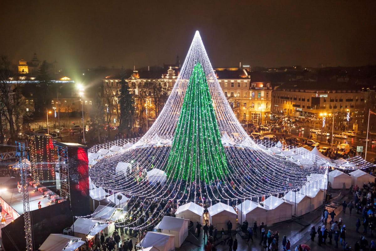 Valtava valoista rakennettu joulukuusu Vilnan Katedraalinaukiolla.