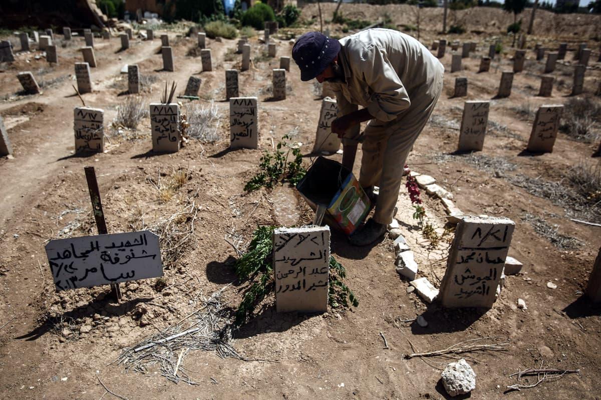 Hautausmaan työntekijä hoitamassa elokuun 2013 kaasuiskussa kuolleen vapaaehtoistyöntekijän hautaa Douman hautausmaalla Damaskoksessa iskun kolmantena vuosipäivänä 22. elokuuta 2016.