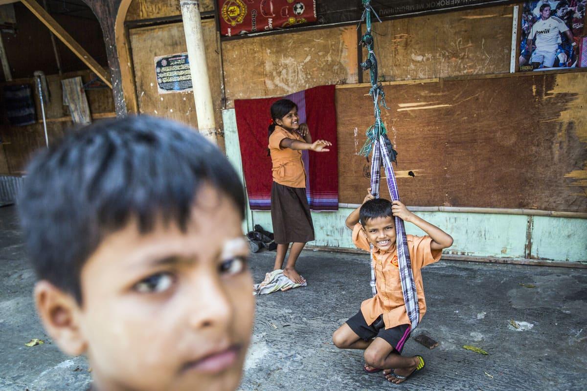 Rohingya-lapsia Medanin pakolaiskeskuksessa Pohjois-Sumatralla, Indonesiassa 11. helmikuuta.