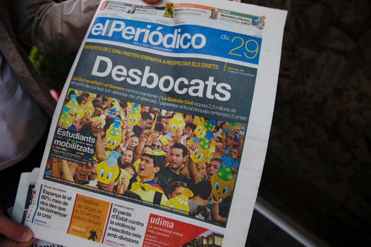 El Periódico -sanomalehden etusivu 29. syyskuuta 2017.