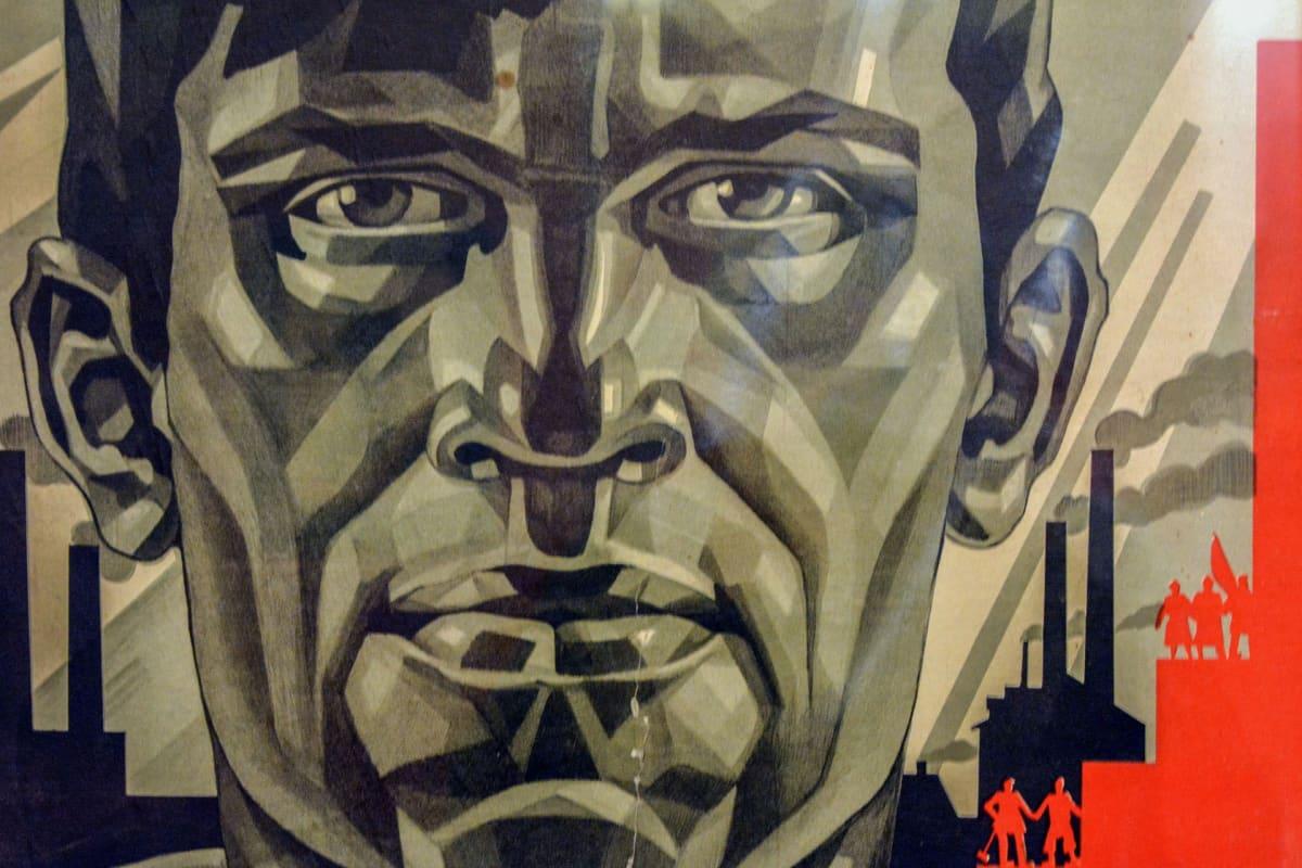 Adolf Strahov, propagandataide, Venäläisen taiteen museo, juliste