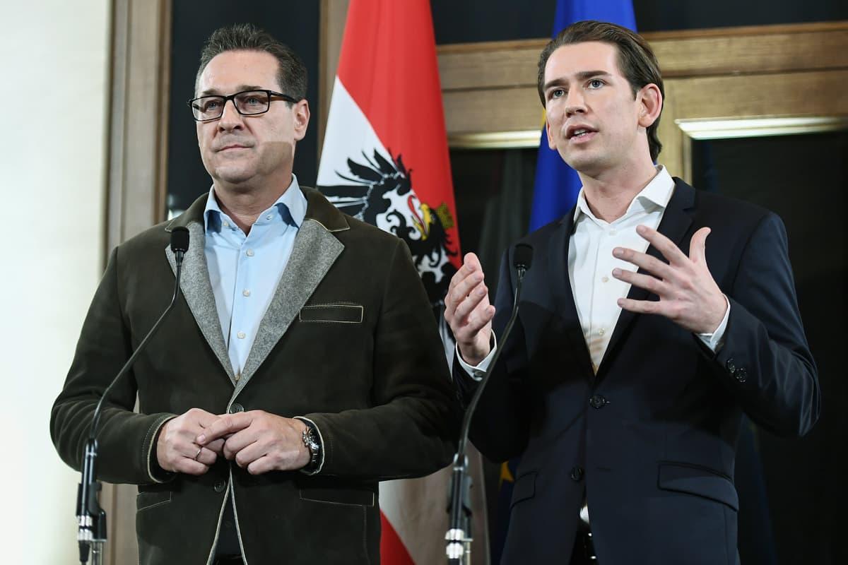 Itävaltalaispoliitikot Sebastian Kurz (oik.) ja Heinz-Christian Strache.