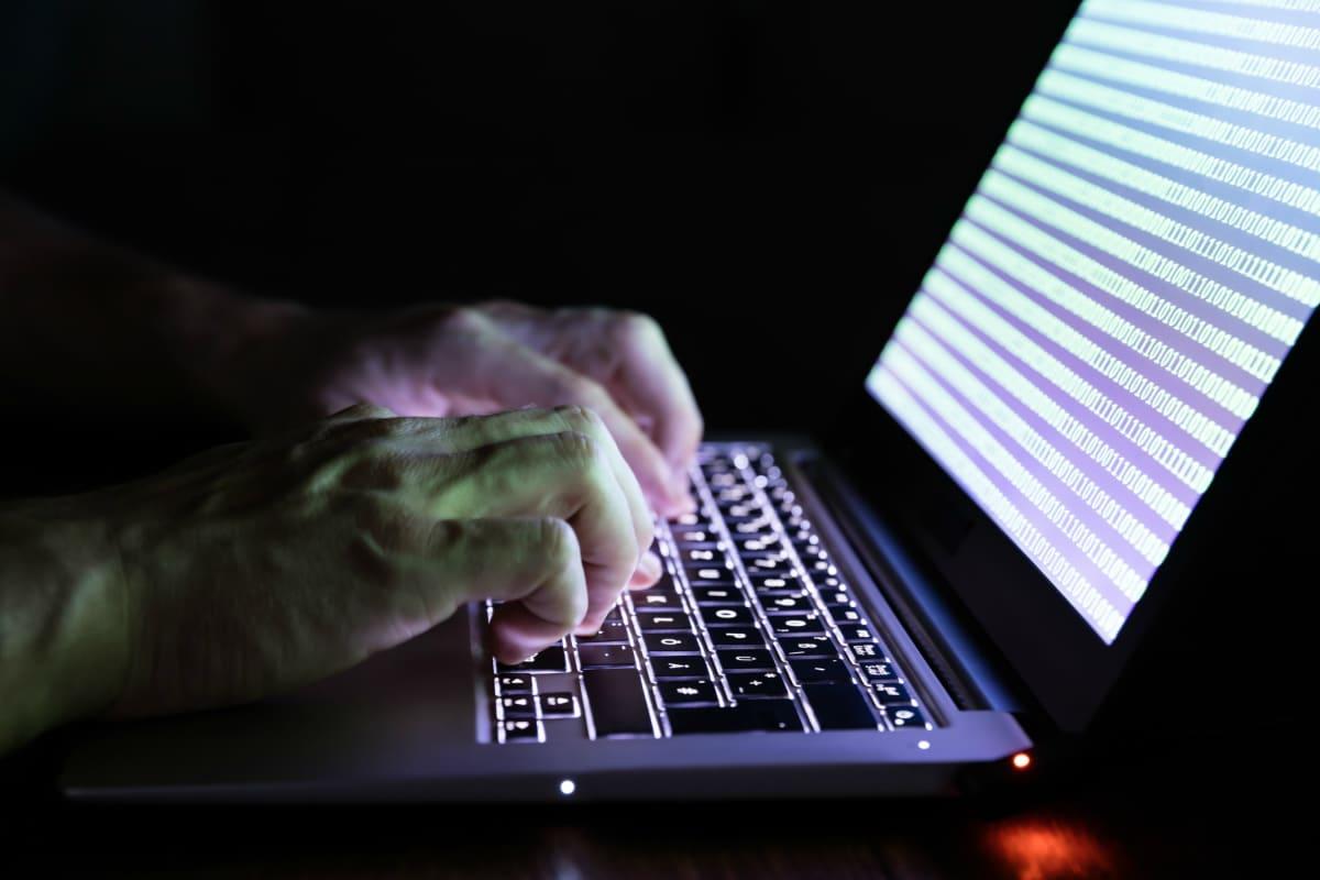 Bild på en laptop med händer på tangentbordet