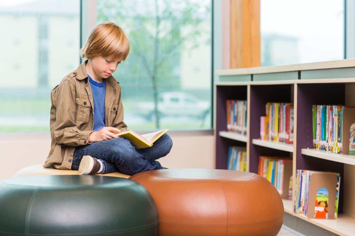Poika lukee kirjaa.