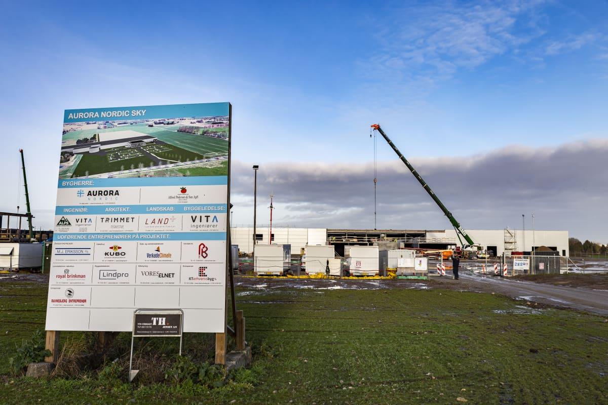 Aurora Nordicin rakenteilla oleva uusi puutarha ja tuotantolaitos