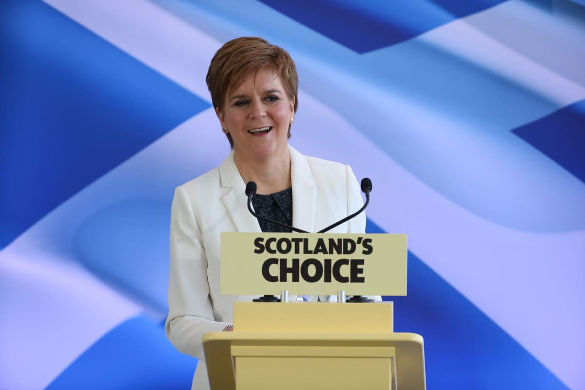 Skotlannin pääministeri Nicola Sturgeon piti puheen brexit-päivänä.