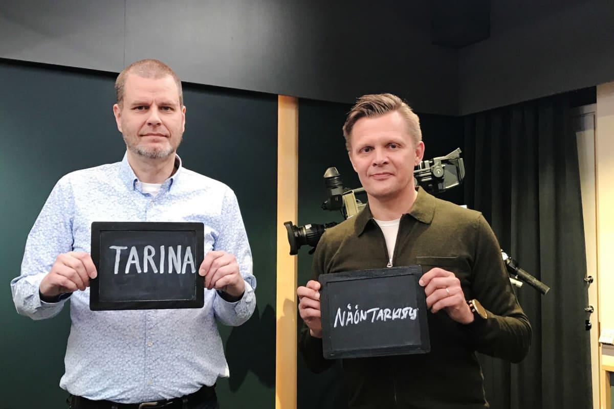 Kuvassa ovat MTV3:n urheilutoimittaja Mika Saukkonen ja Iltasanomien urheilutoimituksen esimies Petri Lahti.