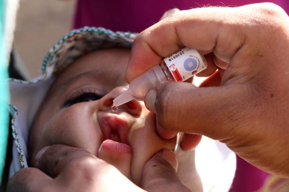 Lapsi sai suun kautta otettavan poliorokotteen Afganistanissa tammikuussa 2019.