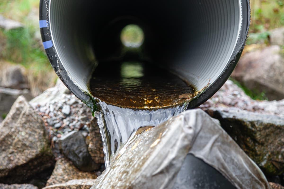 Putkesta valuu vettä Sammonlahden kosteikon veden suodattimeen.