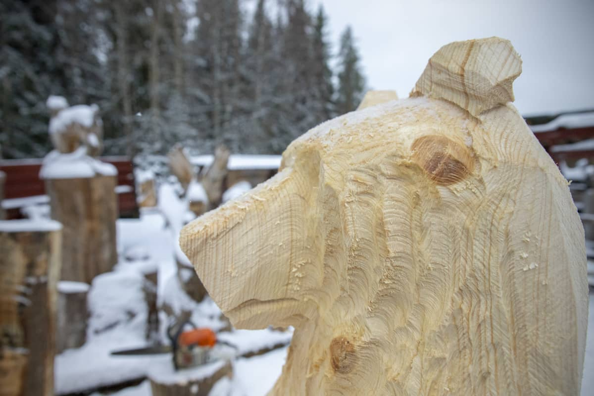 Puinen karhunpää