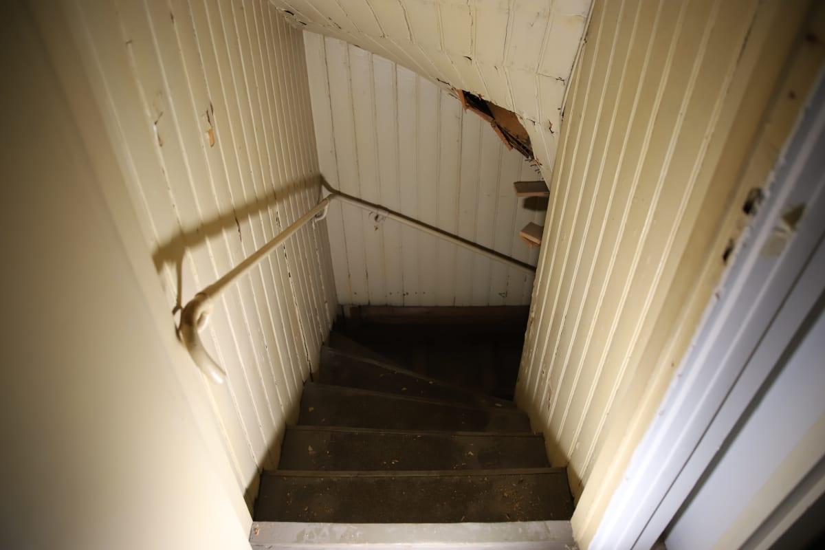 Meriniemen huvilan portaat, jotka eivät enää nykyään johda minnekkään.