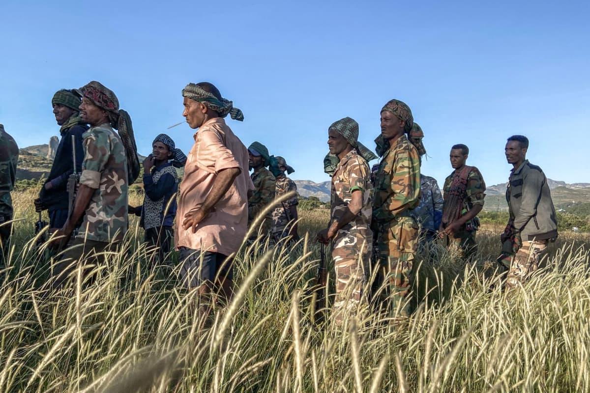 Sotajoukkoja koulutetaan taistelemaan Etiopiassa.