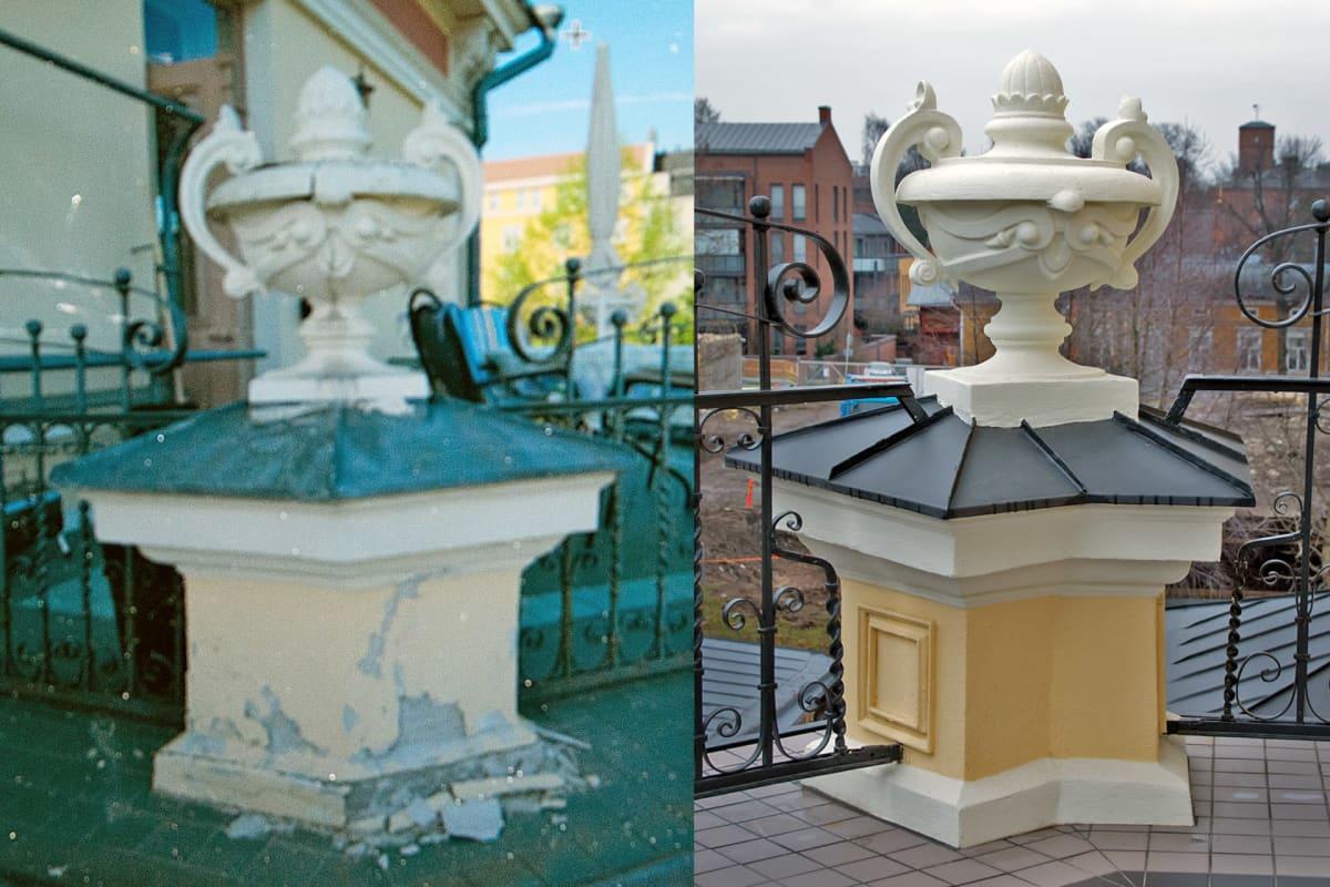 Pikkupalatsin parvekkeen pylväs ennen ja jälkeen
