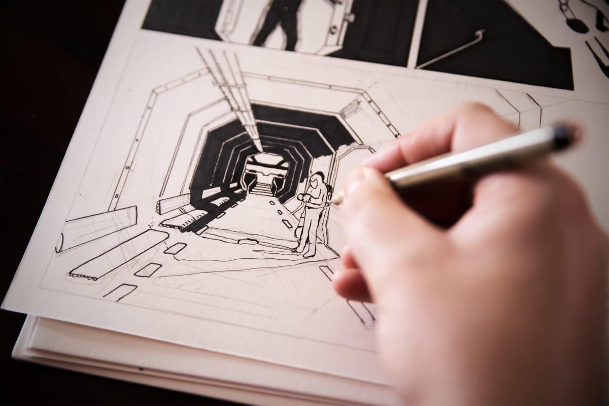 Roope-Santeri Niemisen työn alla oleva scifi-aiheinen sarjakuva.