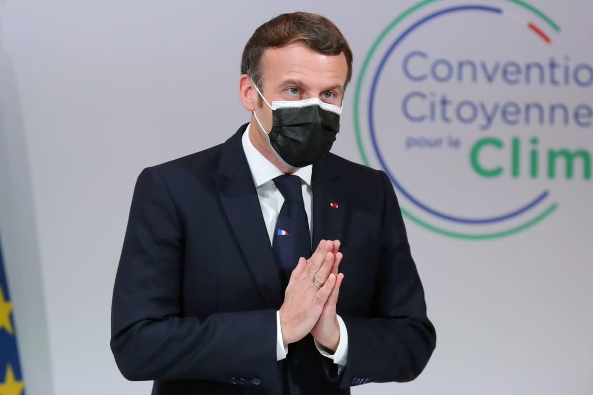 Emmanuel Macron puhuu Citizens' Convention on Climate -tapahtumassa.