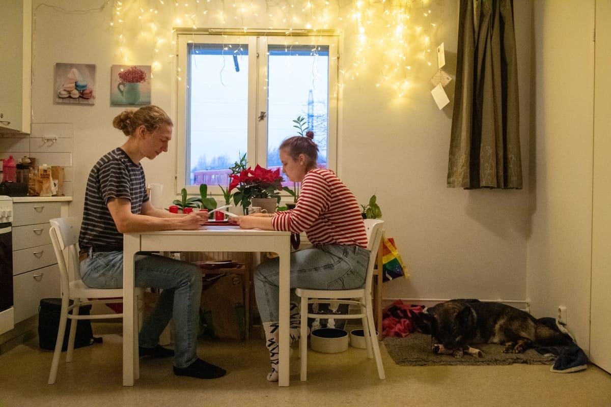 Opiskelijan taloudellinen arki, kuvassa Lilli Hatinen poikaystävänsä Tapanin kanssa Helsingin Mellunmäessä.