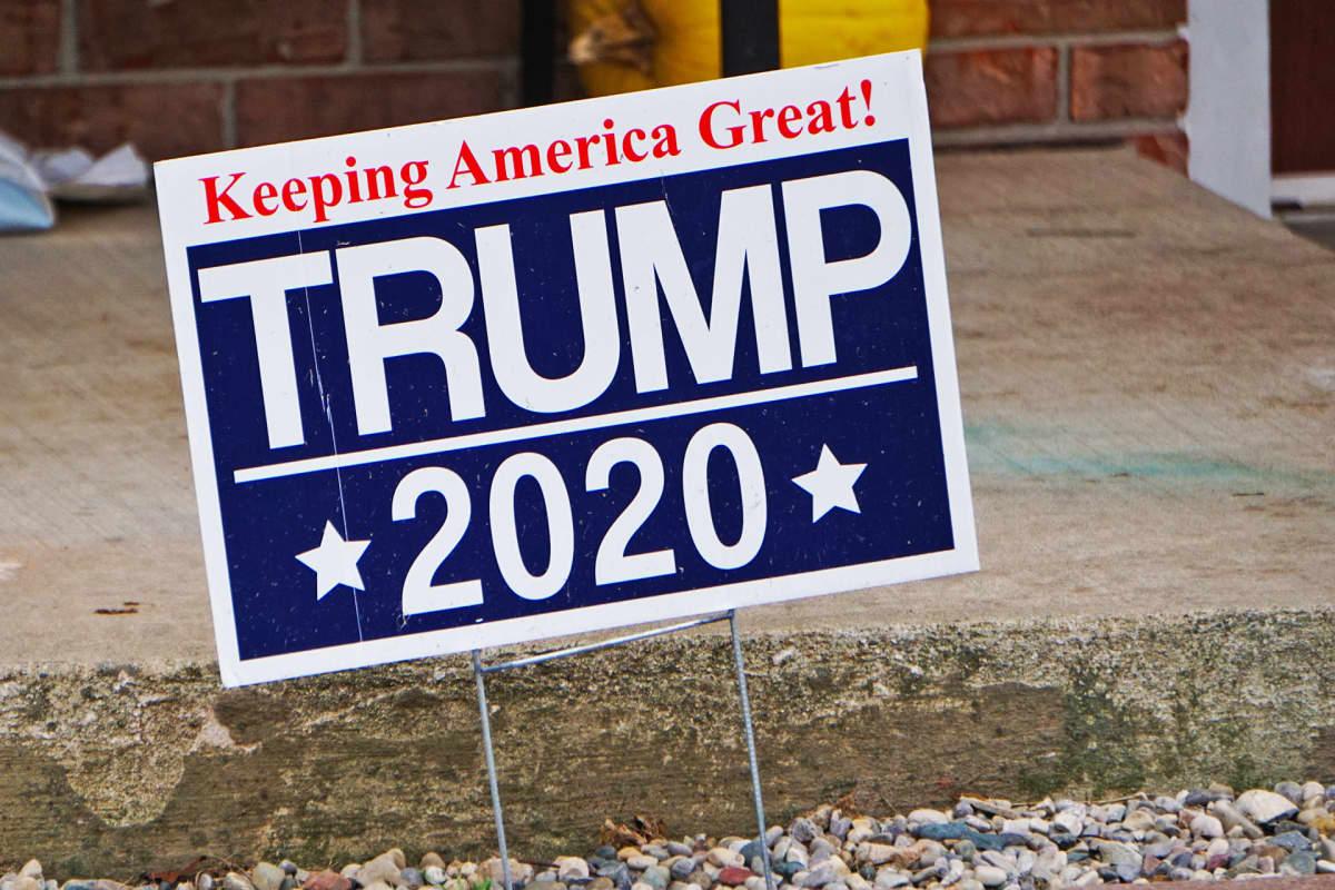 Kyltti Trumpin puolesta vuoden 2020 presidentinvaaleissa