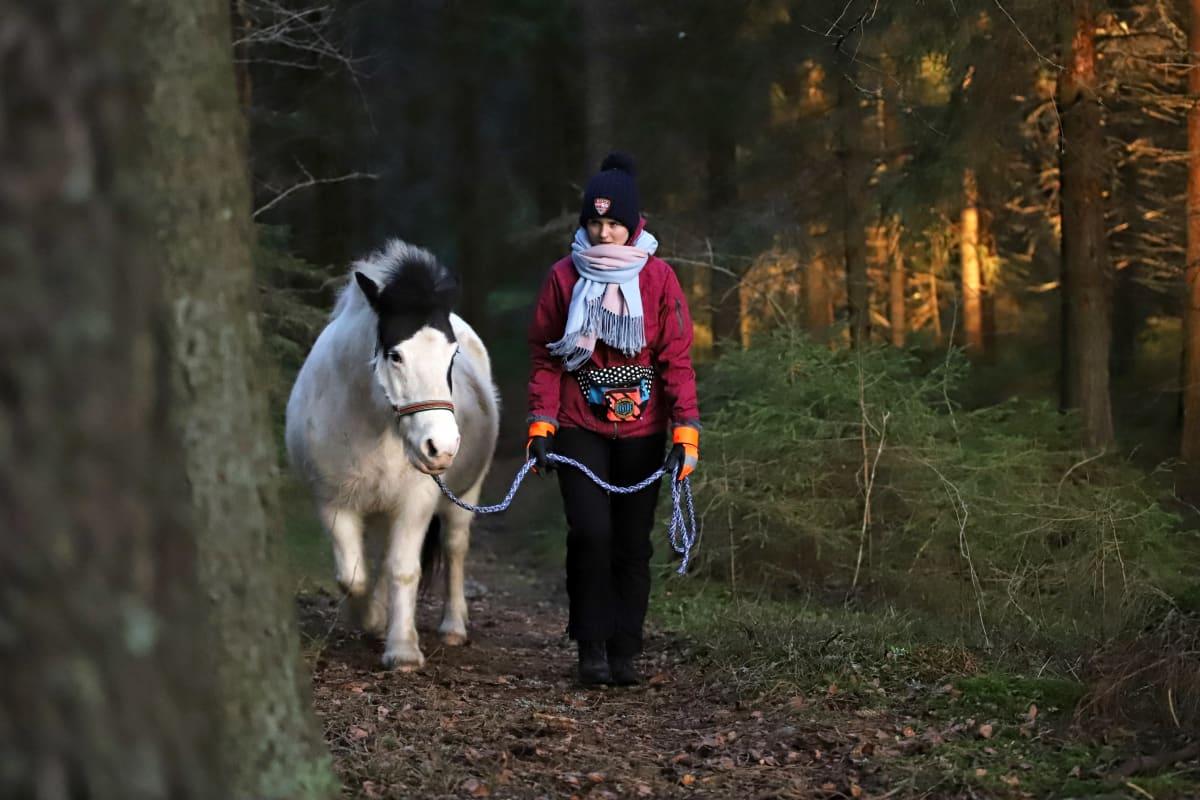 Mila Tanttu taluttaa hevosta metsässä.