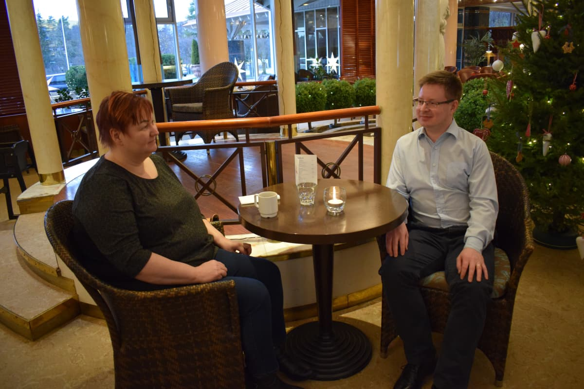 Petra Kalmari ja Anssi Heinonen tulivat Naantalin kylpylään Vantaalta.
