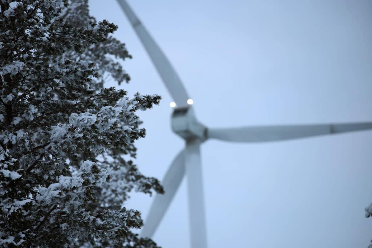 Tuulivoimala talvisessa metsässä.