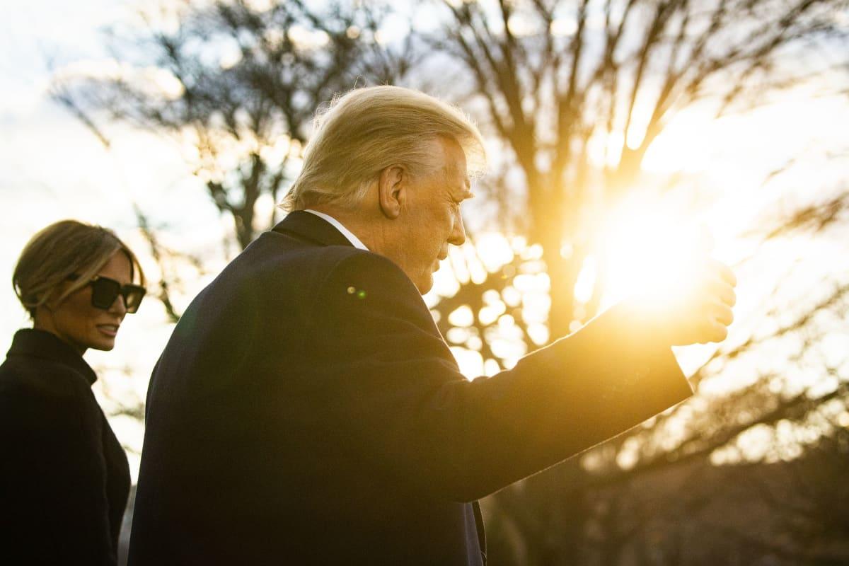 Donald ja Melania Trump jättivät Valkoisen talon 20. tammikuuta ennen Joe Bidenin virkaanastujaisia.