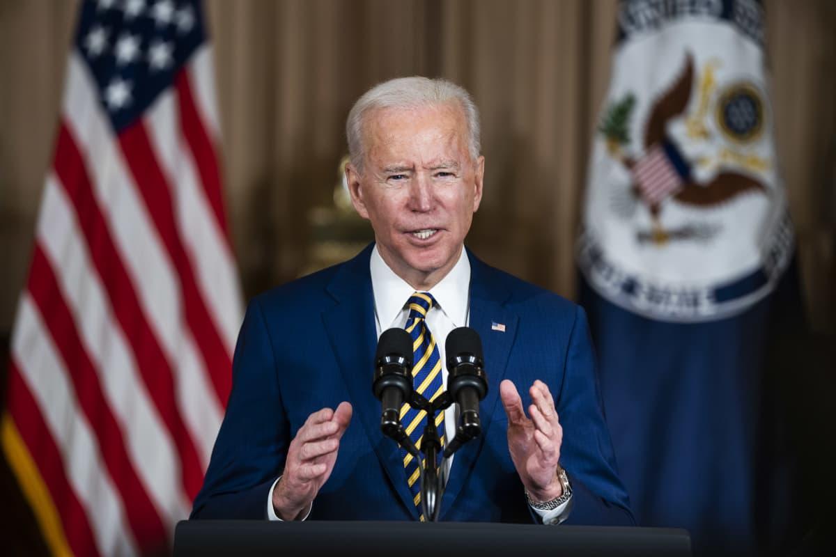 Presidentti Joe Biden puhui Yhdysvaltojen ulkoministeriölle Washingtonista.