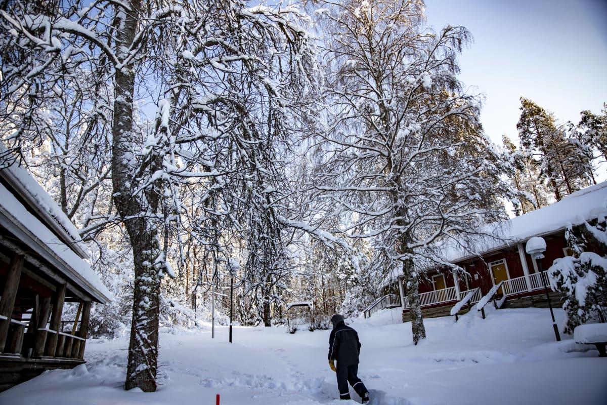 Timo Ruuska kävelemässä Valkinhovin pihalla.