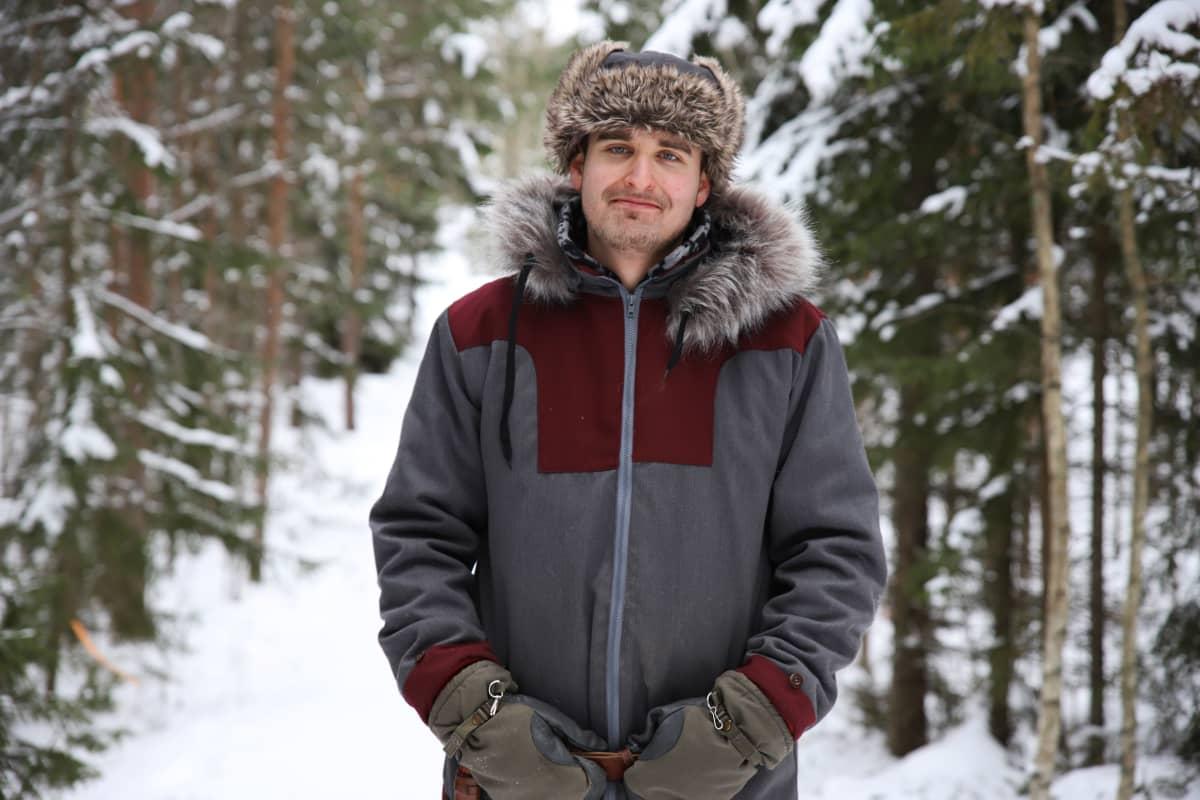 Husky Park Rovaniemen toiminnanjohtaja Kristian Erkkilä Kotkan Hurukselassa.