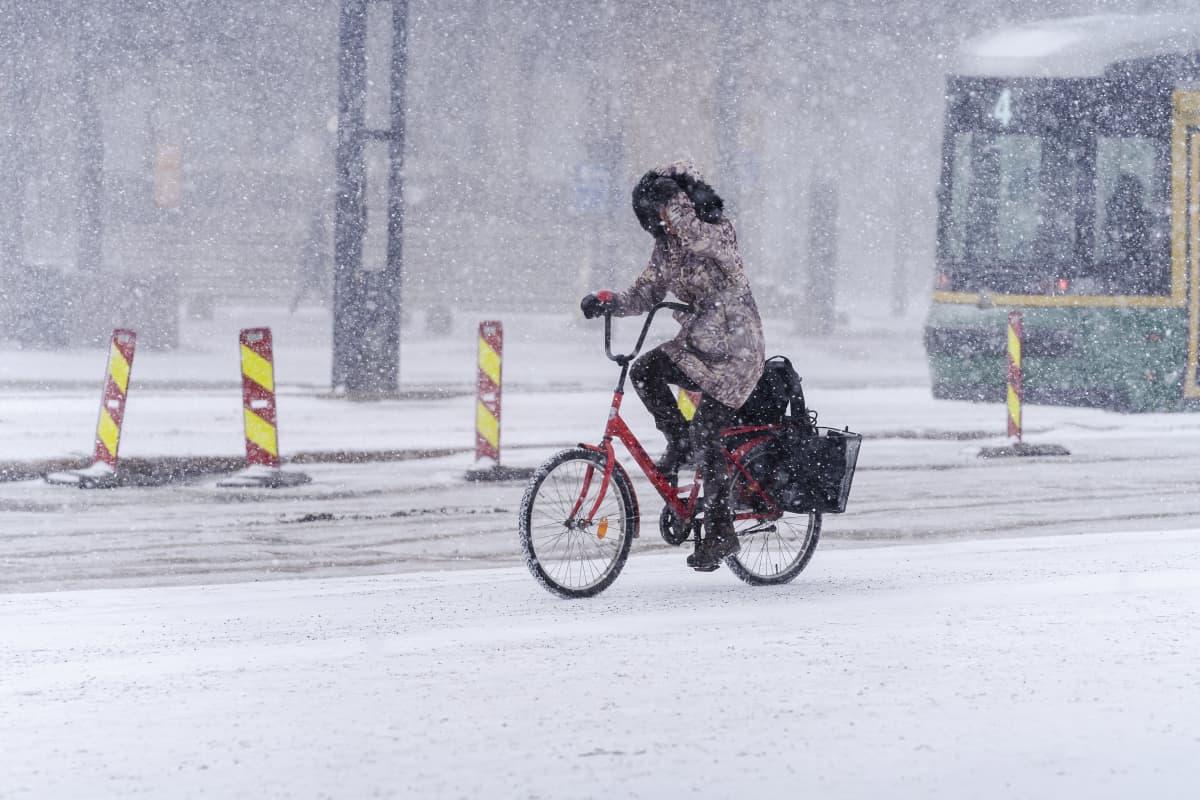 Talvinen sää Helsingissä 7.3. 2021.