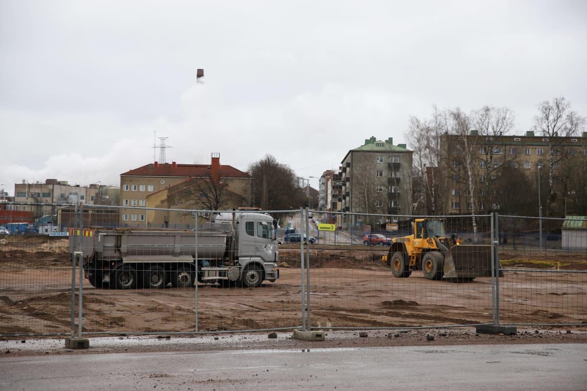 Kotkan tapahtumakeskus Satama Areenan työmaa.