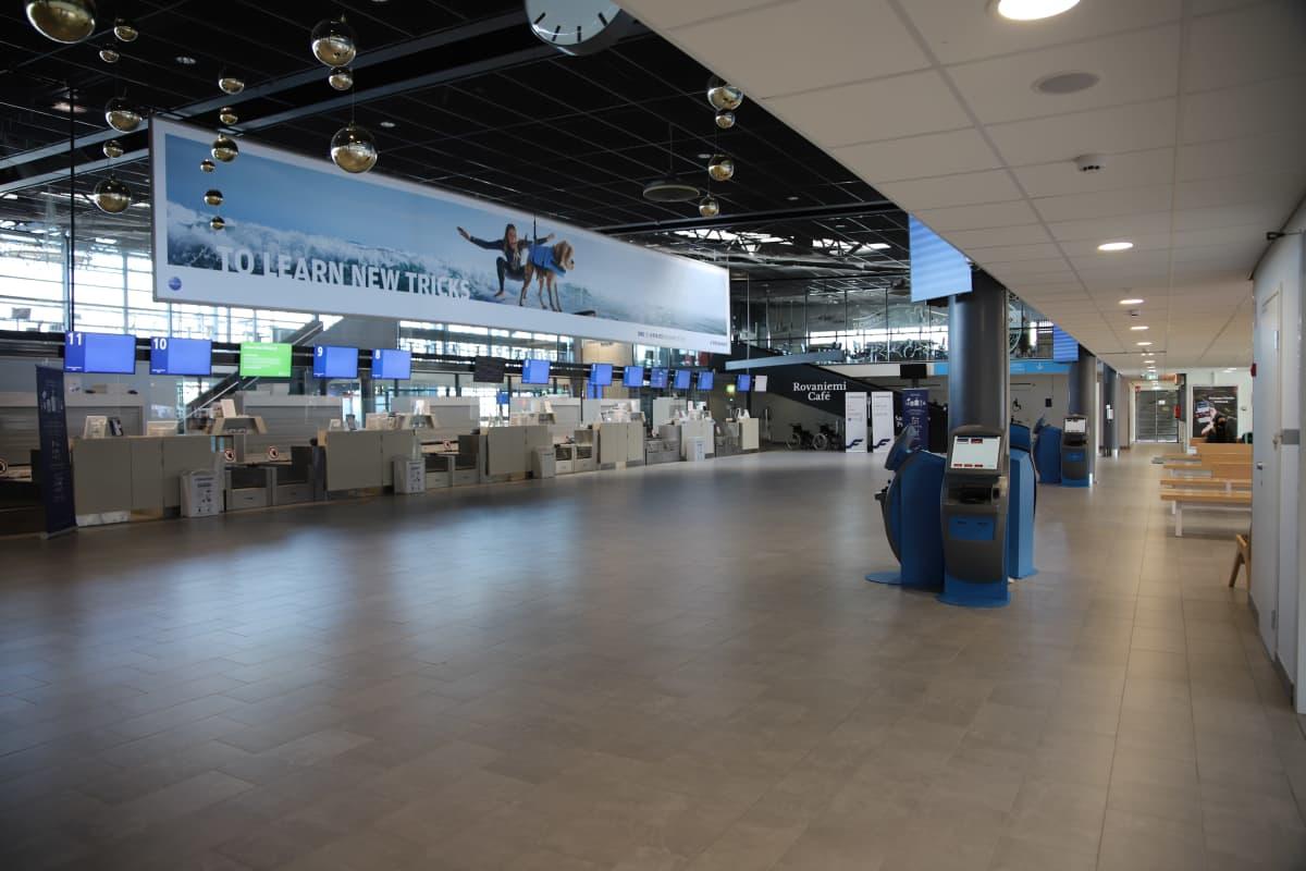 Rovaniemen lentoasemalla on hiljaista