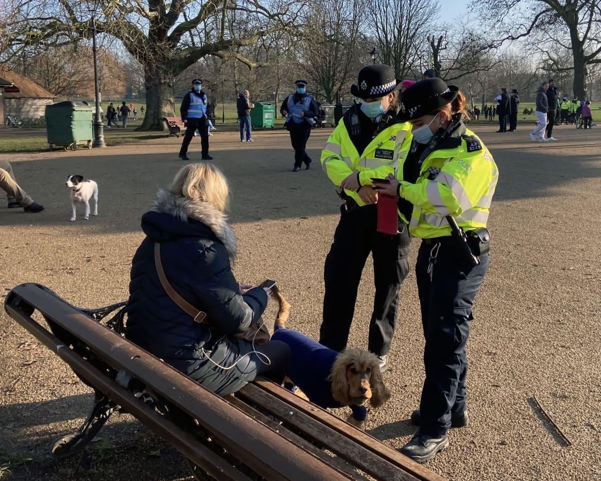 Kaksi poliisia tarkastaa puistonpenkillä istuvaa naista, jolla on koira mukanaan.