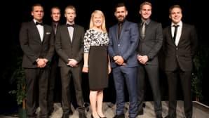 Seitsemän tähtikuljettajaa AKK:n vuoden 2016 gaalassa.