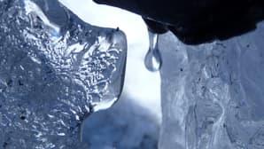 Kuvassa vesipisara tipahtaa talon nurkalla syöksytorven päästä. Ympärillä on jäätä, joista heijastuu auringonvaloa.