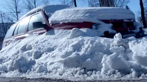 Kuvassa lulmikinokseen hautautunut auto kadun varrella. Kevätaurinko paistaa ja heijastuu auton ikkunoista.