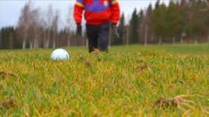 Mies golfkentällä.