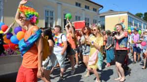 Kuvassa on Pietarsaaren Jeppis Pride-paraatiin osallistuneita.