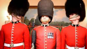 Krenatöörikaartin vartiosotilas George Parker, Vartiosotilas Gus -kakku sekä vartiosotilas Harry Aspishaw.