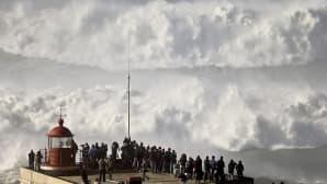 Ihmiset seisovat korkealla muurin päällä ja katselevat lähestyvää jättiaaltoa.