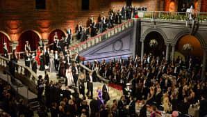 Kuva Nobel-juhlallisuuksista Tukholmassa 10. joulukuuta.