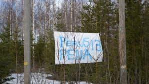 Perussuomalaisten Pentti Oinosen vaalilakana puihin kiinnitettynä.