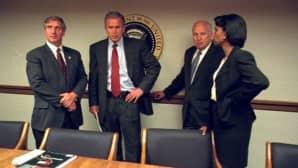 Yhdysvaltain entinen presidentti George W. Bush, Dick Cheney ja Condoleezza Rice.