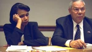 Yhdysvaltain entinen kansallinen turvallisuusneuvonantaja Condoleezza Rice ja entinen ulkoministeri Colin Powell.