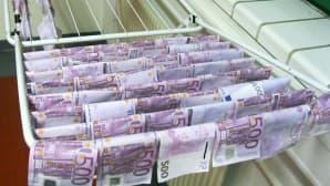 Itävallan poliisi kuivatti Tonavasta löydetyt setelit.