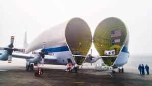 NASAn 1. helmikuuta julkaisema valokuva Super Guppy -koneesta, jota valmistellaan kuljettamaan Orion-avaruusalusta Louisianan osavaltiosta Floridaan.
