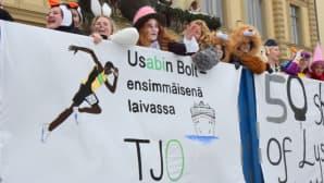 Teksti Usabin Bolt - ensimmäisenä laivassa TJ 0 abien penkkarilakanassa