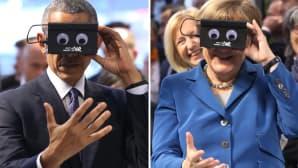 Barack Obama ja Angela Merkel virtuaalilasit kasvoillaan.