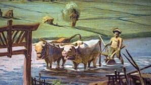 Yksityiskohta opetustaulusta. Maataloustöitä aasiassa.