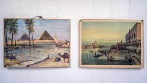 Kaksi opetustaulua rinnakkain. Egyptin pyramidit ja Venetsia.