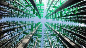 Pylväistä ja 30 000 olutpullosta rakennettu installaatio